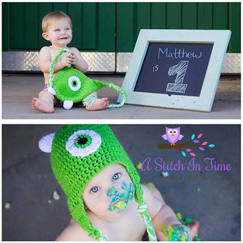 Mike Wazowski Crochet Beanie/Hat with earflaps Newborn Size to Adult Size