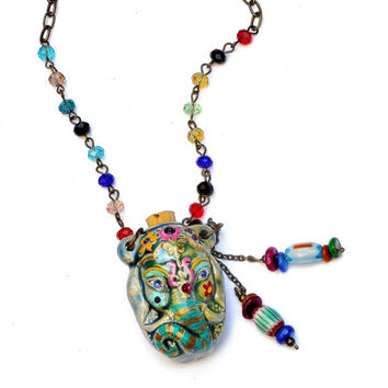 Indian Elephant Necklace FREE SHIPPING Hand Painted Colorful Bohemian Boho Jewelry