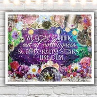 Scattering Stars Like Dust - PAPER PRINT, typographic print, rumi quote print, mixed media collage art, outer space, celestial, cosmic