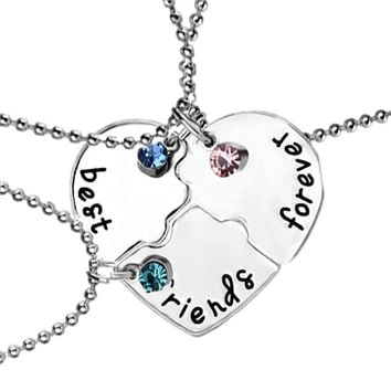 3 pcs/set Best Friends Forever Pendant Necklace Alloy Inlaid Rhinestones New Broken Heart Splicing