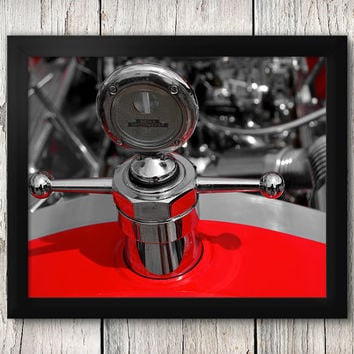 Red Hot Rod Engine Close-up - Classic Car Decor, Man Cave art - Manly Photographic Art Prints