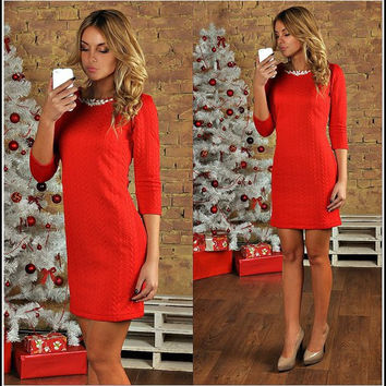Red Round Neck Mini Dress