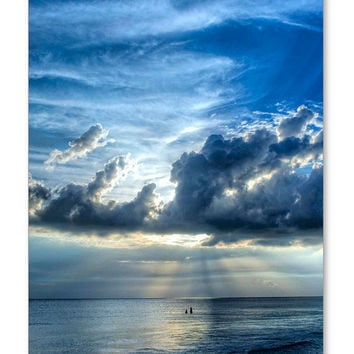 Beach Art Print from Painting Colorful Ocean Sea Seascape Landscape Blue CANVAS Ready To Hang Large Artwork People Spiritual Waves Sky