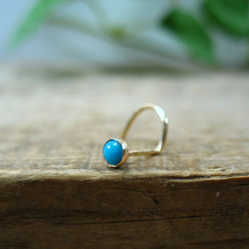 Nose Stud Screw Hook Turquoise Gold