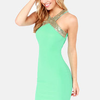 Go-Glitter Mint Green Sequin Dress