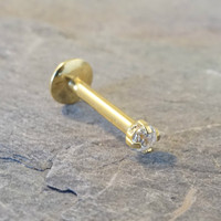 Sparkly Clear Cyrstal Gold Labret Internally Threaded 16 Gauge Cartilage Tragus Monroe