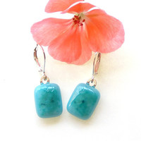 Fused Glass Earrings - Blue Turquoise Fused Glass Jewelry