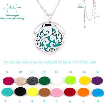 VONG2W With Chain!10pcs mesinya ocean swirl (30mm) Aromatherapy/Essential Oil surgical Stainless Steel Perfume Diffuser Locket Necklace