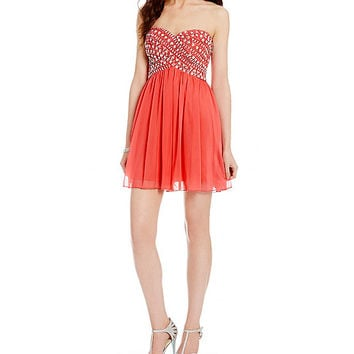 B. Darlin AB Stone Bodice Slim Party Dress | Dillards