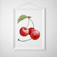 Cherry poster Kitchen art Food print Berries print ACW424