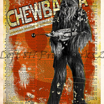 Star Wars Art,  Chewbacca,  Vintage Silhouette print, Retro Star Wars Art, Dictionary print art