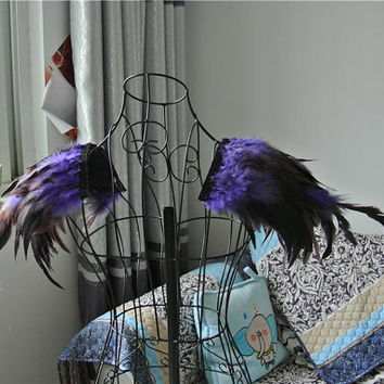 Handmade Purple rooster coque feather epaulette pads Carnival feather shoulder shrug burning man festival epaulettes 30x30cm