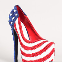 Patriotic Star Studded Rhinestone Stiletto Platform Pump