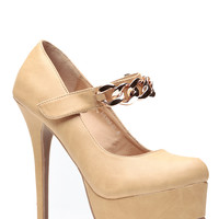 Faux Leather Camel Almond Toe Gold Chain Pumps