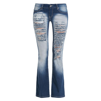 Woman Classic Ripped Jeans Trous Femme Distressed Hole Stretch Bootcut Denim Pants Straight Leg Flare Boyfriend Jeans for Women