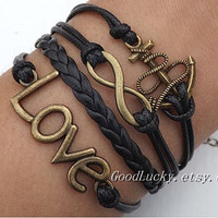Infinity LOVE lovers bracelet--Ancient bronze 8 infinity wish,LOVE and anchor leather bracelet,black wax rope leather braided bracelet