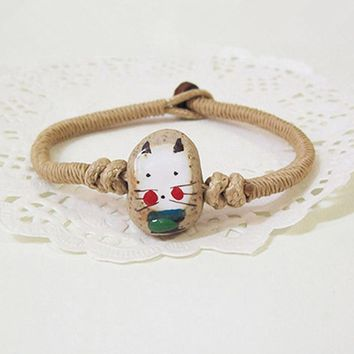 Bohemian Handmade Weave Woven Braided Ceramic Fortune Cat Wax Rope String Rosary Friendship Bracelet