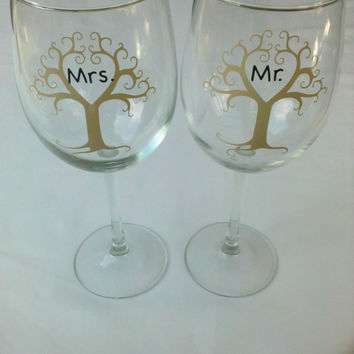 Mr and Mrs heart tree wine glasses Winter by WaterfallDesigns