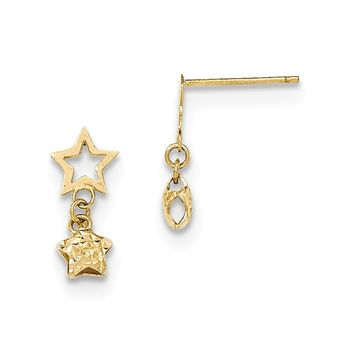 14K Yellow Gold Open and Puffed Diamond Cut Star Dangle Post Earrings