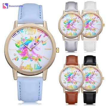 Fashion Casual Cartoon Unicorn Lady Children Wristwatches Cute Lovely Animal Kids Girls Leather Band Analog Alloy Quartz Watch