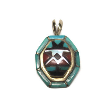 Vintage 14K Zuni Inlay Pendant Wayne Quam Turquoise Coral Mother of Pearl Onyx Yellow Gold