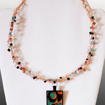 Crocheted Wire Necklace, Handpainted Pendant,  Pearlized Copper Turquoise Gold and Black,  Beadwork Art Abstract Mini Painting