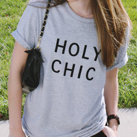 Holy Chic grey tshirt for women tshirts shirts shirt top