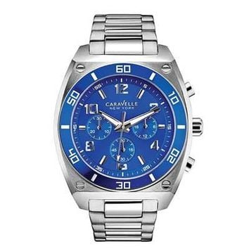 Men's Caravelle New York™ Blue Chronograph Watch (Model: 45A109) - Save on Select Styles - Zales