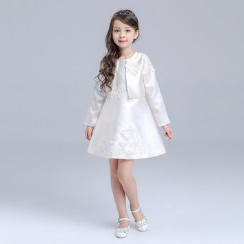 2 Piece A Line Flower Girl Dresses With Jacket 2016 Girls Pageant Dress Appliques Vestidos menina First Communion Dress For Girl