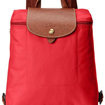 Longchamp Women's Le Pliage Backpack, Red Garance
