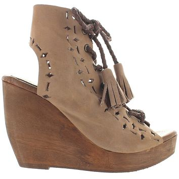 Musse & Cloud Caprice - Sand Leather High Platform/Wedge Sandal Bootie