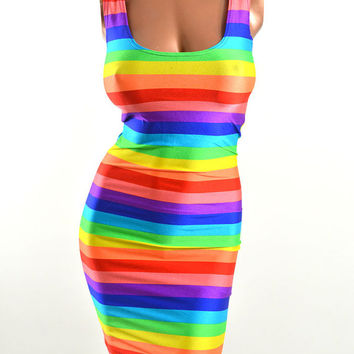 Wide Rainbow Stripe Print Scoop Neck Spandex Bodycon Clubwear Tank Mini Dress -E7532