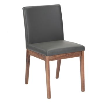 BRANDON GREY SOFT FAUX LEATHER WITH SOLID WALNUT DISTRESSED FINISH LEGS DINING CHAIR