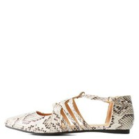 Snake Patterned Caged T-Strap Pointed Toe Flats by Charlotte Russe