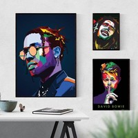 Asap Rocky Bob Marley David Bowie Art Poster Print on Canvas Home Decor