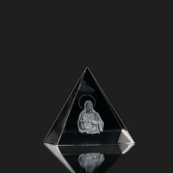 3D Christian Father Figurines Miniatures Crystal Glass Pyramid Model Paperweight