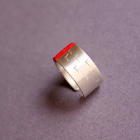 Sterling Silver Ring with Stamped Birds and Red Thread, Wide band adjustable ring - Swallow Birds - Custom made ring