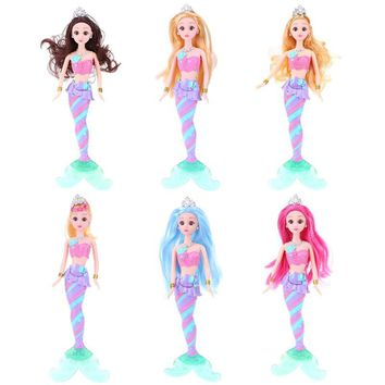 Glowing Fish Tail Queen Princess Mermaid Dolls Toys 3D Cosmetic Contact Lenses Eyes Colorful Light Doll Music Girls Toys Gift