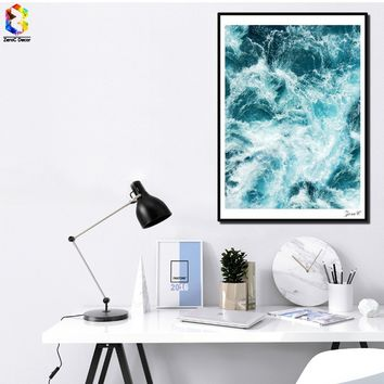 Nordic Pure Sea Canvas Art Print Poster Blue Wall Painting Picture for Living Room Decoration Home Decor