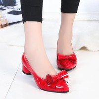 2016 fashion Womens Low square heel leather Pointed toe Shoes woman Bowtie Slip on dress Shoes zapatos mujer Ladies shoes K235