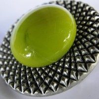 Chartreuse Button Brooch with safety pin by texaseagle on Zibbet