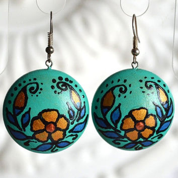 Turquoise earrings of wood with hand painted handmade wooden earrings Gift idea for her Eco jewelry Round Green earrings folklore jewelry