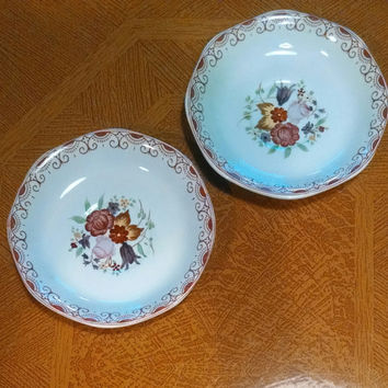 Vintage Adams Calyx Ware Hand Painted Bread and Butter or Dessert Plates- Robin's Egg Blue with Flowers and Pink Border- Made in England