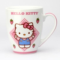 Hello Kitty Set of Two Mugs: Strawberry Plaid