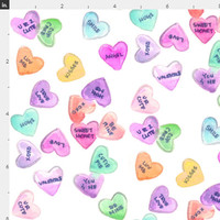Candy Hearts Fabric by the Yard Cotton Quilting Fabric Watercolor Candies Knit Jersey Organic Cotton Knit Vanlentines Minky Fabric 3905937