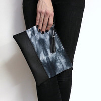 Black Shibori Clutch, Tie Dye Purse, Shibori Bag, Hand Dyed Clutch, Black Purse, Gray Shibori Clutch, Shibori Handbag, Black White Clutch