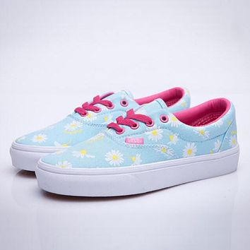 Vans Fashion Women Daisy Floral Canvas Sport Casual Old Skool Flat Shoe Sneakers Blue I12356-1