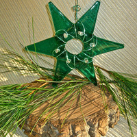 Glass Star Ornament or Suncatcher - Teal with clear accent beads