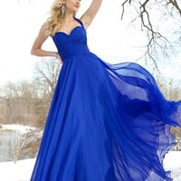 Blue chiffon gown 78219 - Prom Dresses