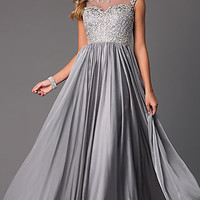 Floor Length Prom Dress with Illusion Bodice